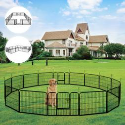 16-Panel Heavy Duty Metal Cage Crate Pet Dog Playpen Exercis