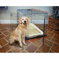"""2-Door 42"""" Large Breed Folding Dog Crate + Bed Mat Puppy Tra"""