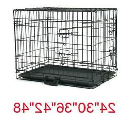 "20""—48"" Dog Crate Kennel Folding Metal Pet Cage 1-2 Door I"