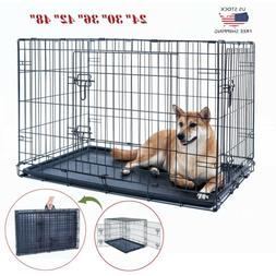 """24""""30""""36""""42""""48"""" Dog Crate Kennel Folding Metal Pet Cage 2 Do"""