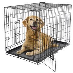 "24"" 36"" 42"" Dog Crate Kennel Folding Metal Pet Cage 2 Door W"