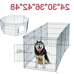 "24""—48"" Tall Wire Fence Pet Dog Cat Folding Exercise Yard"