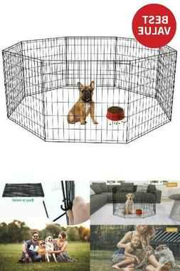 24-Black Tall Dog Playpen Crate Fence Pet Kennel Play Pen Ex