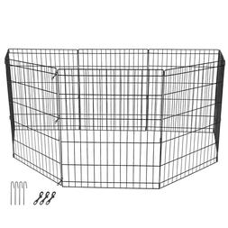 """24"""" Dog Playpen Crate 8 Panel Fence Pet Play Pen Exercise Pu"""