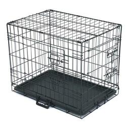 "24"" Pet Kennel Cat Dog Folding Steel Crate Animal Playpen Wi"