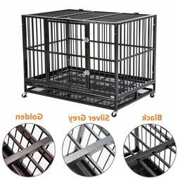 """3 Color Large 37"""" Dog Cage Crate Kennel Metal Pet Playpen Ho"""