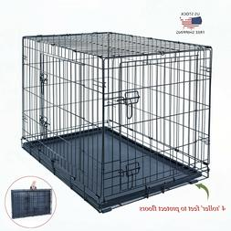 """30"""" Dog Crate Kennel Folding Metal Pet Cage 2 Door With ABS"""