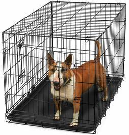 "36"" Dog Crate 2 Door w/Divide w/Tray Fold Metal Pet Cage Ken"