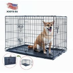 "36"" Dog Crate Kennel Folding Metal Black Pet Cage 2 Door Wit"