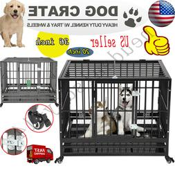 """20'、36"""" Dog Crate Large Kennel Cage Heavy Duty Metal Pet P"""