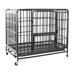 """36"""" Heavy Duty Dog Cage Crate Kennel Metal Pet Playpen with"""