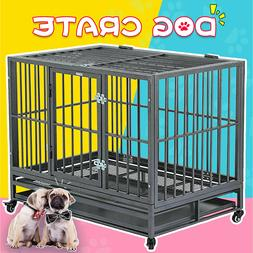 """36"""" Large Heavy Duty Metal Dog Crate Pet Kennel Cage Playpen"""