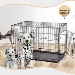 """BestPet 36"""" Pet Kennel Cat Dog Folding Crate Wire Metal Cage"""