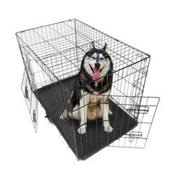 "36"" Pet Kennel Cat Dog Folding Steel Crate Animal Playpen Wi"