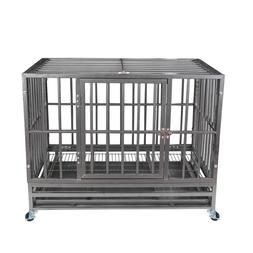 "37"" Gray Heavy Duty Dog Cage Strong Metal Crate Kennel Playp"