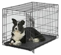 "42"" 36"" Pet Dog Puppy Crate Cat Cage Tray Folding Metal Kenn"
