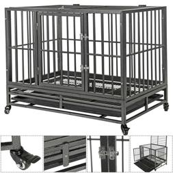 """42.5"""" Large Heavy Duty Metal Dog Cage Kennel Crate Portable"""