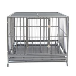 """42"""" Gray Heavy Duty Dog Cage Strong Metal Crate Kennel Playp"""