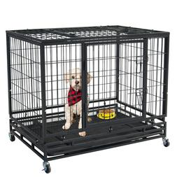 """46"""" Pet Dog Cage Heavy Duty Strong Metal Wire Crate Kennel P"""