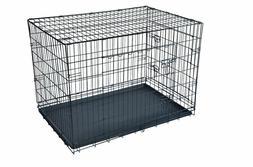 Black 48*2 Door Pet Cage Folding Dog*Divider Cat Crate Cage