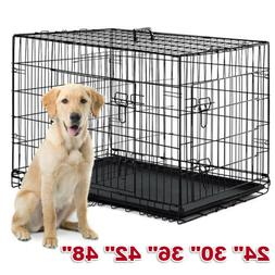 """48""""/42""""/36""""/30""""/24"""" Pet Cat Dog Folding Kennel Crate Wire Me"""