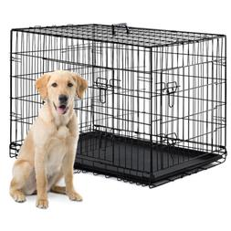 """48""""/42""""/36""""/30""""/24"""" Pet Kennel Cat Dogs Folding Crate Wire M"""