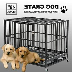 """48"""" Black Heavy Duty Dog Crate Cage Pet Kennel Playpen Exe"""