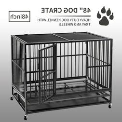 """48"""" Heavy Duty Dog Cage Kennel Crate Foldable Doge Crate w/"""