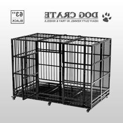 63'' Dog Crate Cage Large Square Tube Heavy Duty Metal Kenne