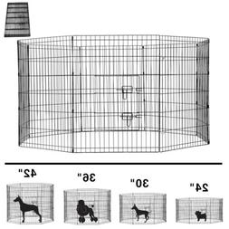 8 Panels Foldable Dog Playpen Crate Metal Fence Pet Puppy Pl