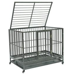 Dog Cage Pet Metal Heavy Duty with Wheels and Crate Tray for