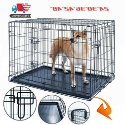 Dog Crate Kennel Folding Pet Cage Metal 2Door With Tray Blac