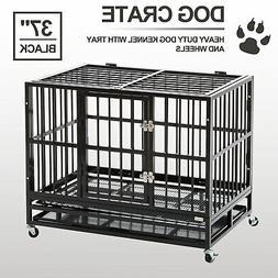 "XL 37"" Dog Crate Kennel - Heavy Duty Pet Cage Playpen w/ Met"