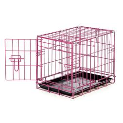 Dog Crate Raspberry Color Lightweight Folding Wire Latching
