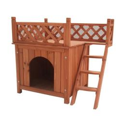 ALEKO Dog Kennel Cedar Pet Home Luxurious Side Steps Balcony