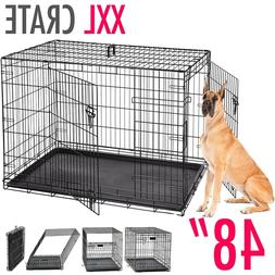 """Dog Kennels EXTRA LARGE Dog Crate 48"""" Folding Cage Metal D"""