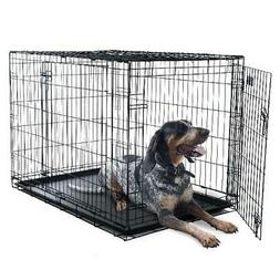 """Petmaker Double-Door Folding Dog Crate Cage, Large, 42""""L"""
