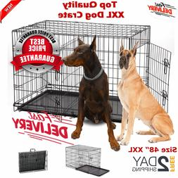 """Extra Large Dog Kennel Crate 48"""" Folding Pet Cage Metal 2 Do"""