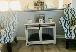 Farmhouse Dog Crate Kennel Rustic Brown White Cage Barn Door