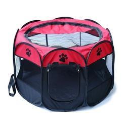 DI- BL_ Mini Pet Folding Crate Oxford Cloth Fence Dog Cat Ke