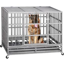 Heavy Duty Dog Cage Strong Folding Metal Crate Kennel and Pl