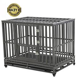 LUCKUP Heavy Duty Dog Cage Strong Metal Kennel and Crate for