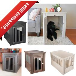 Indoor Dog Crate Wooden Plastic Pet Cage Bed End Table Night