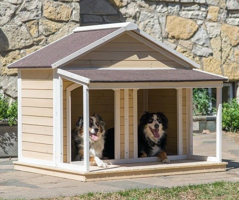 XL Dog 2 Dogs Wood Duplex Covered