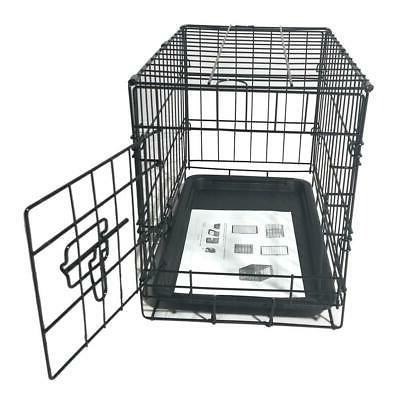 "20"" Pet Cat Dog Crate Playpen Wire Metal Tray Black"