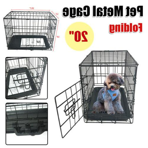 """20"""" Small Crate Kennel Cage Wire Metal Pet Tray Indoor"""