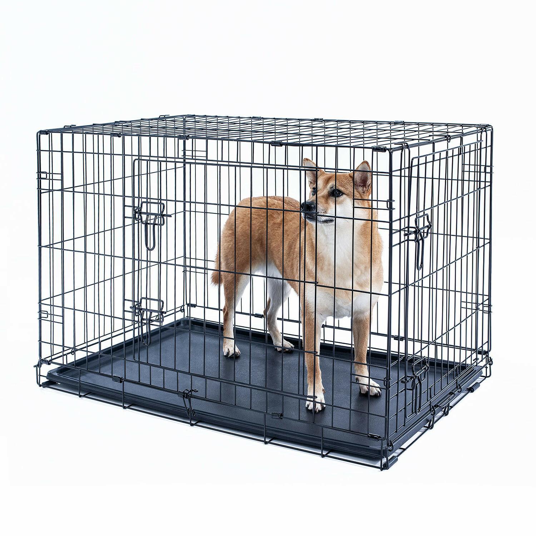 "36"" Dog Crate Folding Metal Cage Door Plastic Tray"