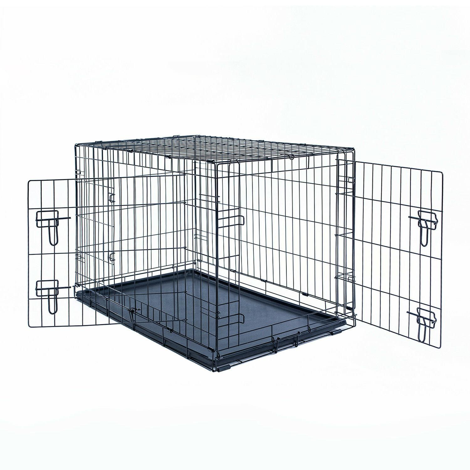 """36"""" Folding Black Cage 2 With Plastic"""