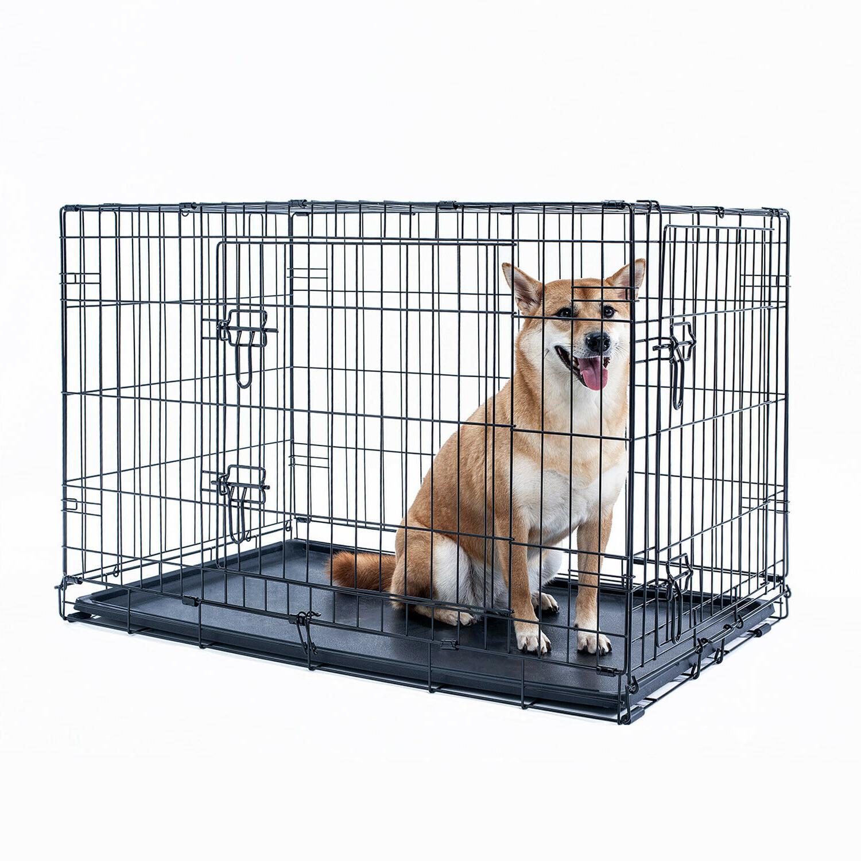 "36"" Crate Kennel Folding Metal Black Pet Cage Plastic"