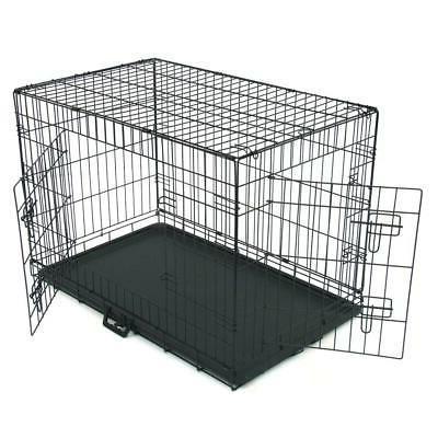 """36"""" Crate 2 Door Tray/1 Metal Pet Cage House Black"""
